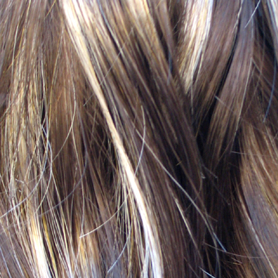 dark brown hair with blonde highlights underneath